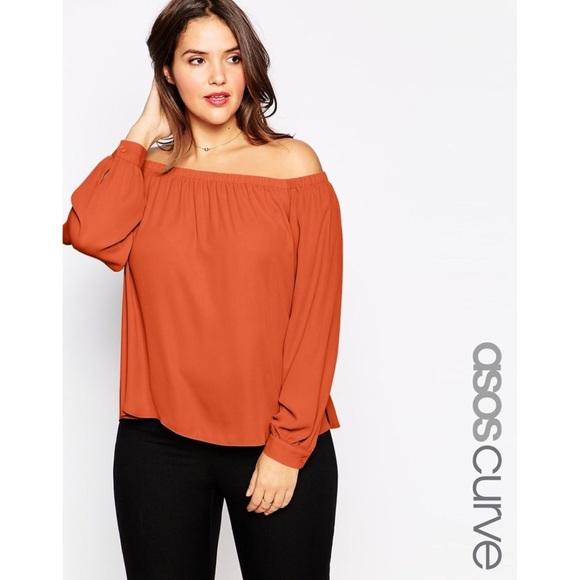 7910ef4759c061 ASOS Curve Tops - Asos Curve burnt orange off shoulder top 🤘🏻🧡